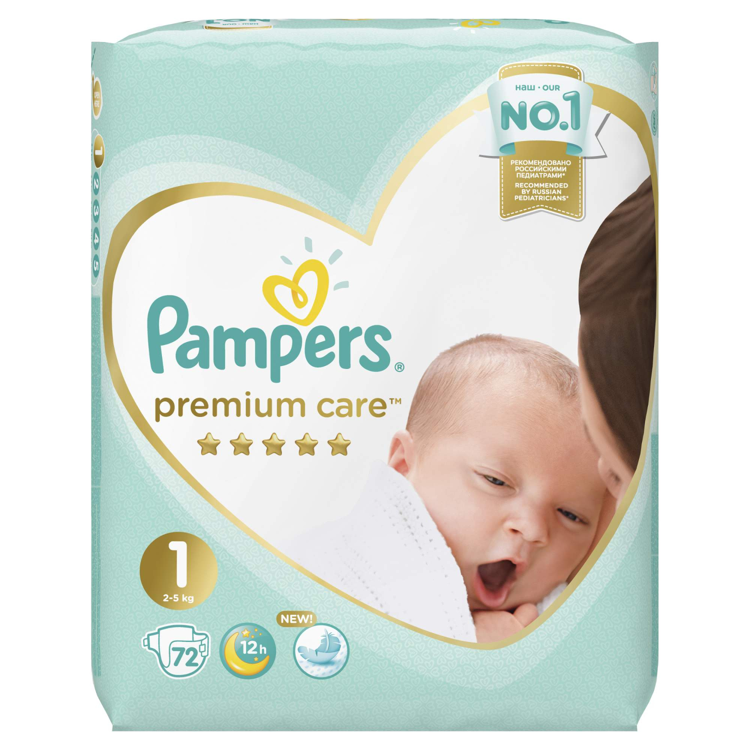 Подгузники Pampers Premium Care 1 (2-5 кг) - 72 шт