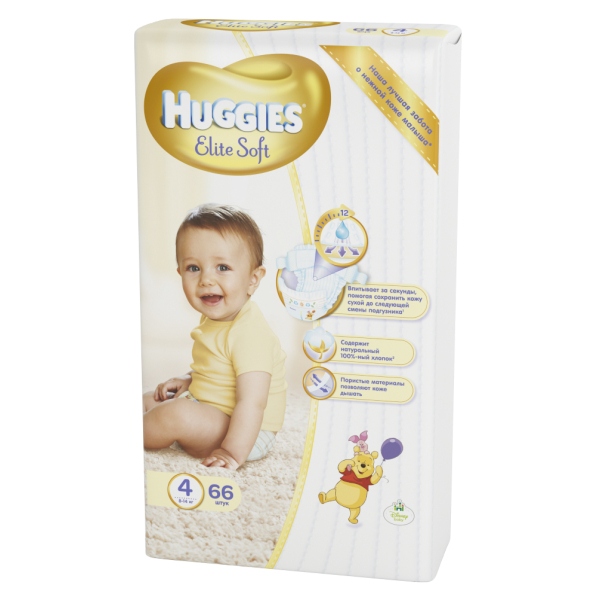 Подгузники Huggies Elite Soft 4 (8-14 кг) - 66 шт