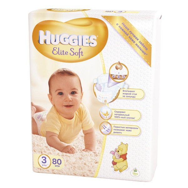 Подгузники Huggies Elite Soft 3 (5-9 кг) - 80 шт