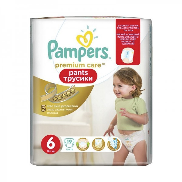 Трусики Pampers Pants Premium Care 6 (16+ кг) - 19 шт