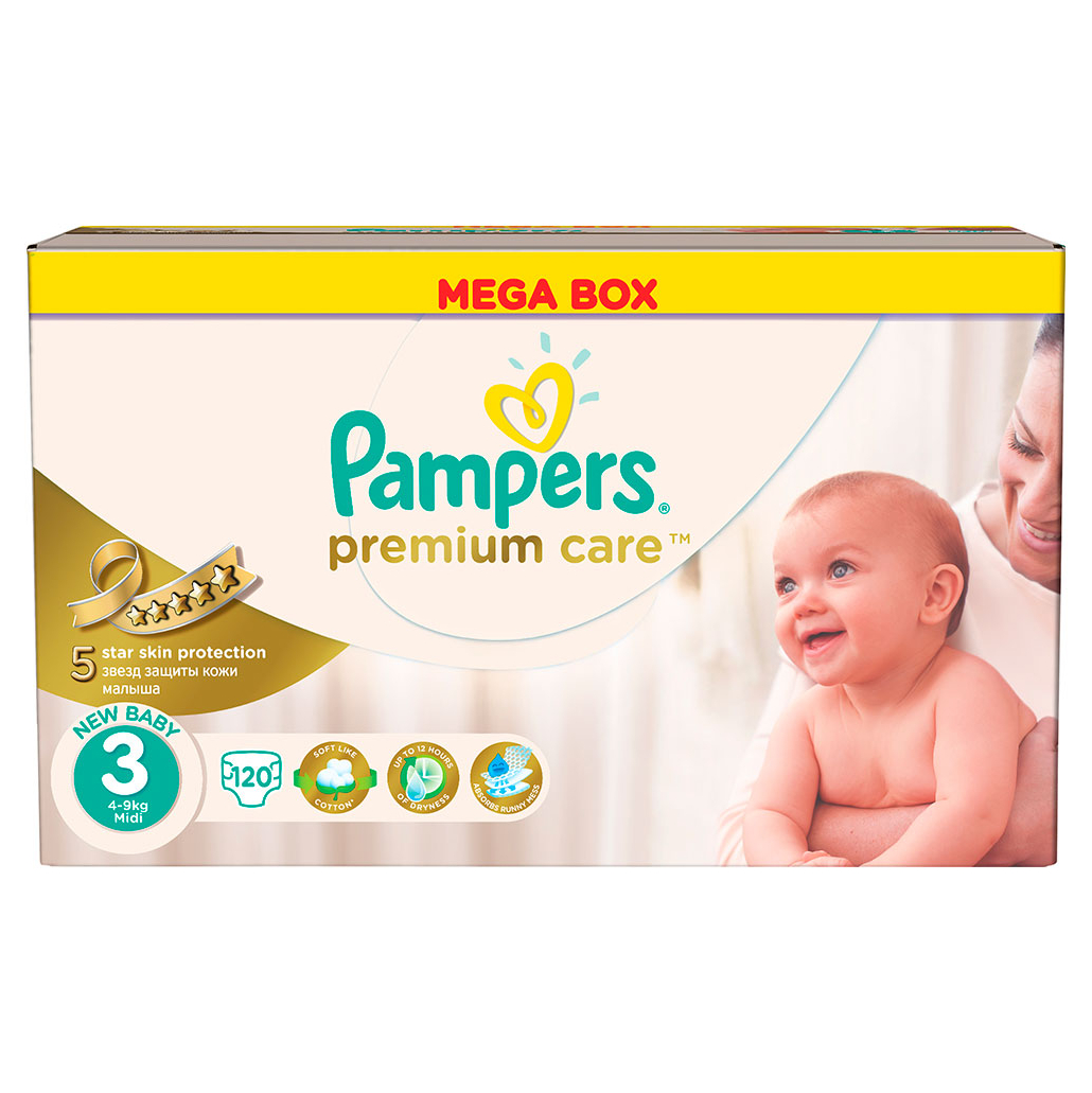 Подгузники Pampers Premium Care 3 (5-9 кг) - 120 шт